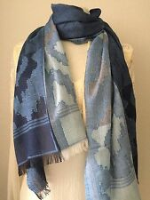 SAACHI Artist Handcrafted SCARF Shawl Throw Wrap Cover Up Denim Blue Ombre