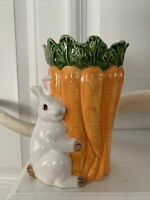 "Vintage Omnibus Easter Bunny Carrots Vase glazed ceramic Planter 7.25"" tall"