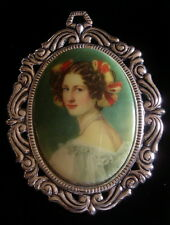 Brooch Silver Plate Brown Hair Porcelain Pin Portrait of Woman Lady