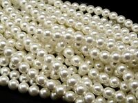 30pcs 8mm Pearl Round Beads White Pearl Czech Glass (8PR70402)