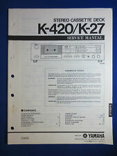 YAMAHA K-420 K-27 Cassette Service Manual Factory Original The Real Thing