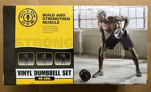 Gold's Gym 40 lbs Vinyl Dumbbell Weightlifting Set - Brand New - Fast Shipping