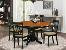 5pc oval pedestal kitchen dining set table + 4 padded chairs in cherry black