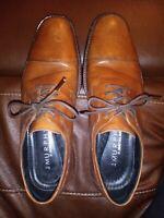 JOHNSTON & MURPHY Mens Dress Shoes Honey Brown Leather Cap Toe Oxfords Size 8M