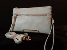 Light Teal Wristlet Crossbody Clutch Purse With Lots Of Pockets
