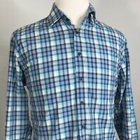 NEIMAN MARCUS LONG SLEEVE BLUE GINGHAM CHECK BUTTON DOWN SHIRT MENS SIZE L