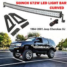 "Fit for 84~01 Jeep Cherokee XJ Windshield Mount Bracket+ 50"" 672W CREE Light Bar"