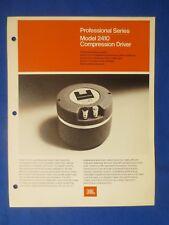 JBL 2410 Pro Series Compression Driver Brochure Catalog Original