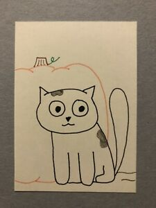 Original ACEO - Cat And Pumpkin - 3.5 Inch By 2.5 Inch Ink Drawings