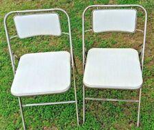 Vintage Mid Century Set of 2 - Metal SAMSONITE Folding Chairs Muscle Man Label
