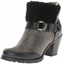 Woolrich Miss Alice Harness Boot Booties Black Crackle Leather Women's Sz 6 M