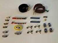 US Meyer Military Lapel Pins, Badges, Bars, Belts and Lanyard - Vintage Lot (25)