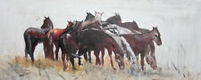 Impressionist oil painting horses