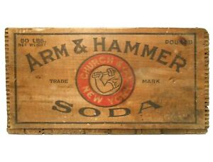 ARM & HAMMER BAKING SODA EARLY 20TH C VINT WOOD BOX CRATE DWIGHT & CHURCH CO, NY