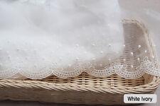 "14Yds Embroidery scalloped mesh Ribbon eyelet lace trim 4.9"" YH rose laceking"
