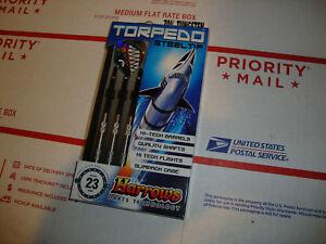 Darts Harrows Torpedo 70% Tungsten 23 gram Steel Tip Case HI-Tech Barrels game