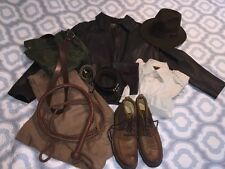 Indiana Jones Costume Wested Leather Jacket 38 Whip Boots Bag Belt Hat Mens