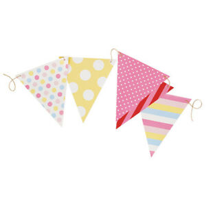 Princess Pink spot and stripe Card Flag Bunting - 10m / 50 pieces Birthday Party