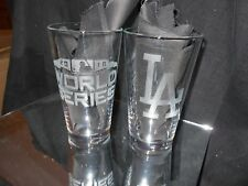 2018 WORLD SERIES CONTENDER NLCS LOS ANGELES DODGERS 2 ETCHED PINT GLASSES