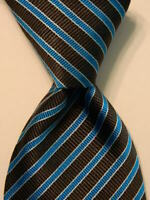 ALTEA Milano Men's 100% Silk Necktie ITALY Luxury STRIPED Gray/Blue/White EUC