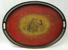 Antique Toleware Tin Tray Hand Painted with Putti