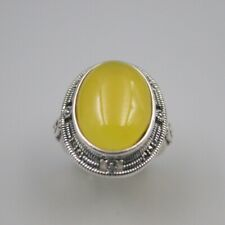 S925 Sterling Silver Yellow Chalcedony Ring Luck Big Ellipse Ring 24mmW US7