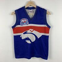 Vintage AFL Western Bulldogs Footscray Jersey Kids Size 10 Sleeveless