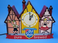 OLD STYLE BEER 1960'S CHALET LIGHTED CLOCK SIGN.