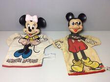 Vintage Mickey & Minnie Hand Puppets Disney & Gund Set Of 2