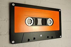 Large orange retro cassette tape 3D wall art / 3D retro wall art 80s wall art