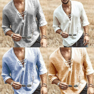 Mens Casual Long Sleeve Cotton Linen Blouse Loose Lace up V-Neck Top T Shirts