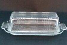 VTG Hazel Atlas Crisscross 2 Piece Lidded Butter Dish Clear Quarter Stick