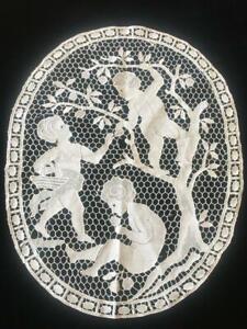 GORGEOUS ANTIQUE c.1910 FIGURAL SCHIFFLI LACE TABLE MAT / PANEL- APPLE PICKERS