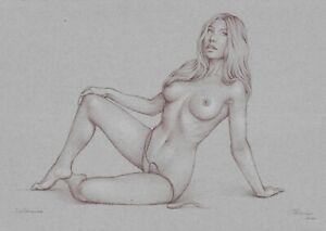 original drawing A3 510MS art samovar pastel Realism female nude Signed 2021