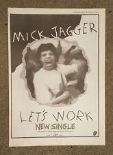 Mick Jagger Let's Work 1987 press advert Full page 30 x 42 cm mini poster