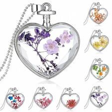 Floating Charm Locket Natural Real Dried Flower Heart Pendant Necklace for Women