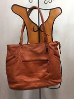 Saldarini Leather Orange Shopper Tote Bag W/zippered Pockets