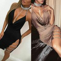 Women's Sleeveless Bandage Bodycon Evening Party Cocktail Club Short Mini Dress