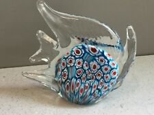 Murano Style Red, White & Blue Millefiori Art Glass Angel Fish Paperweight
