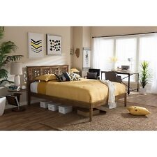Trina Contemporary Tree Branch Inspired Walnut Wood King Size Platform Bed NEW