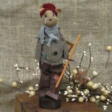 "Pearsons Primitives  9.5"" Century Farm Poor Boy Mouse With Rake"