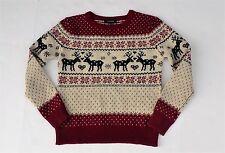 Atmosphere womens 6 wool christmas reindeer sweater fair isle snowflake red