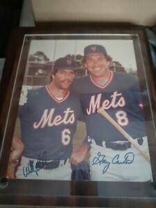 GARY CARTER (dec. 2012) WALLY BACKMAN signed framed 8x10 photo NEW YORK METS HOF