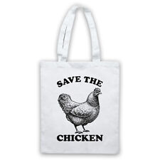 SAVE THE CHICKEN ANIMAL RIGHTS PROTEST SLOGAN SHOULDER TOTE SHOP BAG