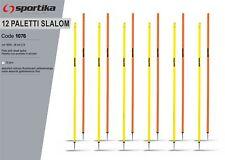 12 Paletti Slalom SPORTIKA Con Puntale in Acciaio h160 cm x Allenamento Calcio