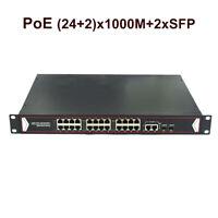 24 Port 100/1000M PoE Switch 2 Uplink SFP 400W 802.3af for Network IP Camera NVR
