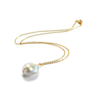 Single Baroque Pearl Gold Pendant Necklace White Cultured Freshwater Pearl