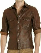 Men's Leather Shirt Real Lambskin Lederhemd Jacket Biker Slim Fit Cuir Brown
