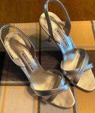 MANOLO BLAHNIK Silver Metallic Strappy Slingback Heel Sandals Size 39.5 US 9