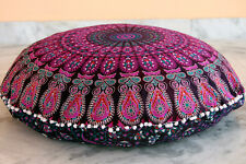 Indian Mandala Floor Cushion Cover Couch Peacock Feather Printed Cotton 32x32